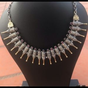 Jewelry - Two-tone Champagne Ruby Bottle Necklace